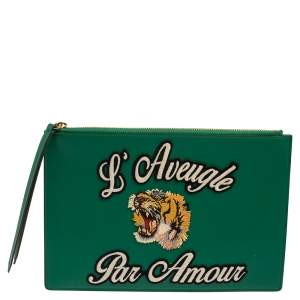 Gucci Green Leather L'Aveugle Par Amour Pouch