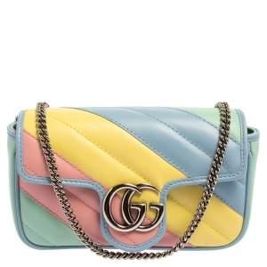 Gucci Multicolor Matelassé Leather Super Mini GG Marmont Crossbody Bag