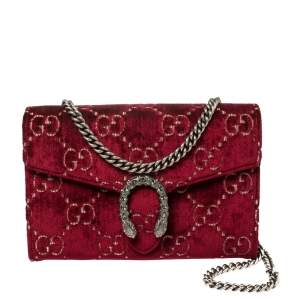 Gucci Red GG Velvet Mini Dionysus Wallet On Chain