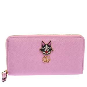Gucci Pink GG Marmont Leather Limited Edition Bosco Zip Around Wallet
