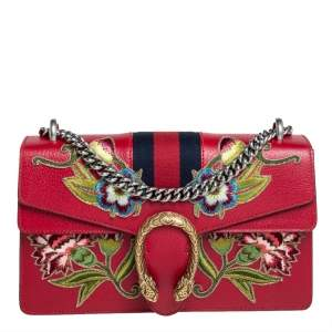 Gucci Red Leather Floral Embroidered Small Dionysus Shoulder Bag