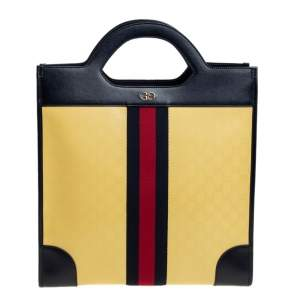Gucci Yellow/Navy Blue Leather GG Crystal Canvas and Leather Medium Ophidia Tote