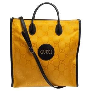 حقيبة يد غوتشي أوف ذا غريد لونغ جلد ونايلون جي جي أسود/ أصفر