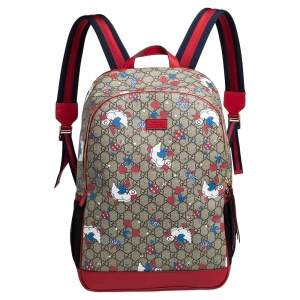 Gucci Red/Beige Canvas and Leather Duck Motif Diaper Backpack