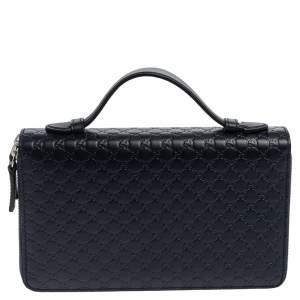 Gucci Navy Blue Microguccissima Leather Double Zip Organizer Clutch
