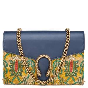 Gucci Blue/Yellow Brocade And Leather Dionysus Wallet On Chain