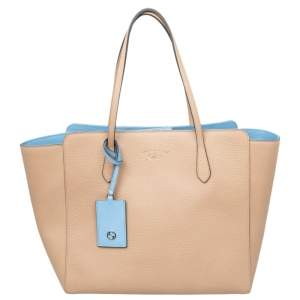 Gucci Beige/Blue Leather Swing Tote Bag