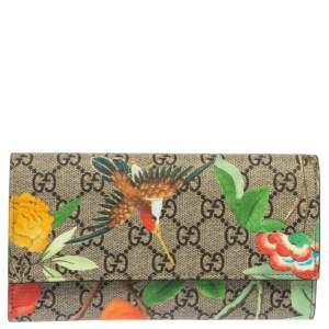 Gucci Multicolor GG Supreme Tian Continental Flap Wallet