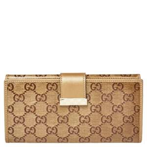 Gucci Beige/Gold GG Crystal Canvas and Leather Continental Wallet