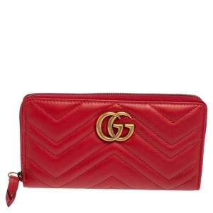 Gucci Red Matelassé Leather GG Marmont Zip Around Wallet