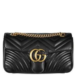 Gucci Black Matelassé Leather Small GG Marmont Shoulder Bag
