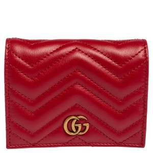 Gucci Red Matelassé Leather GG Marmont Card Case