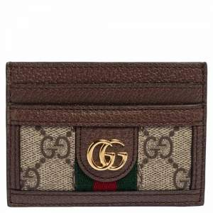 Gucci Beige/Ebony GG Supreme Coated Canvas and Leather Ophidia GG Card Holder