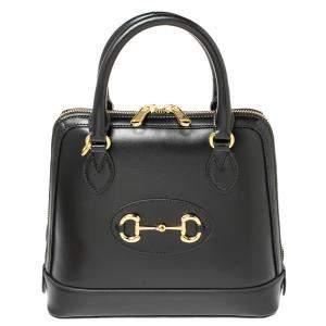 Gucci Black Leather Horsebit 1955 Satchel