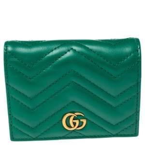 Gucci Green Matelassé Leather GG Marmont Card Case
