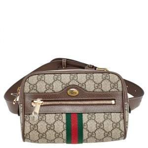 Gucci Beige Coated Canvas And Leather Ophidia Belt Bag