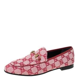 Gucci Red/Pink GG Canvas Horsebit Slip On Loafers Size 37.5
