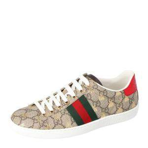 Gucci Brown/Beige GG Supreme Canvas Ace Bee Lace Up Sneakers Size 38