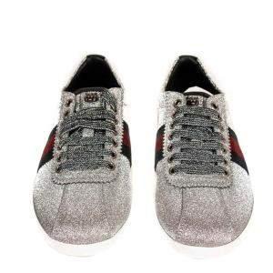 Gucci Silver Glitter Bambi Web Studded Sneakers Size 37