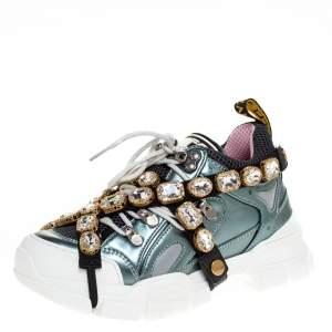 حذاء رياضي غوتشي كريستال قابل للإزالة فلاشترك شبك وجلد ميتالك مقاس 36