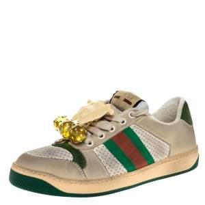 Gucci Multicolor Leather Screener Web Sneakers Size 37.5