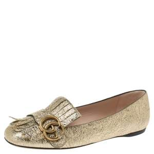 Gucci Gold Crinkled Leather GG Marmont Fringe Ballet Flats Size 36
