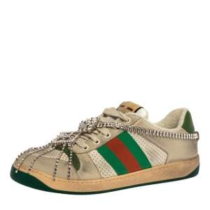 Gucci Off White Leather Screener Sneakers with Crystals Size 40