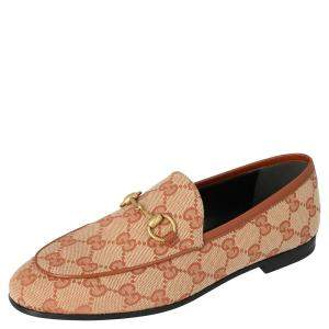 Gucci Beige/Brown GG Canvas Jordaan Loafers Size 36