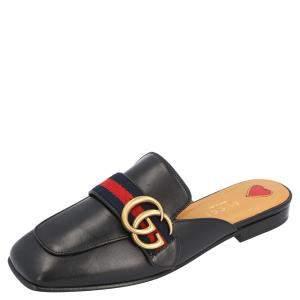 Gucci Black Leather Peyton Square-Toe Mules Size 38