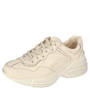 Gucci Beige Leather Rhyton Sneakers Size 35.5