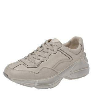 Gucci Beige Distressed Effect Leather Rhyton Sneakers Size 35.5