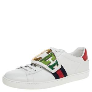 Gucci White Leather Ace Rainbow Patch Low Top Sneaker Size 38.5