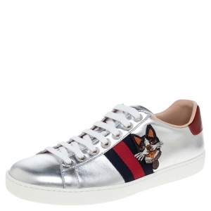 Gucci Silver Leather Ace Embroidered Web Low Top Sneakers Size 38