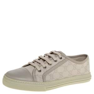 Gucci Light Grey GG Canvas And Leather Low Top Sneakers Size 37.5
