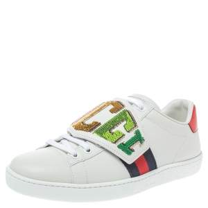 Gucci White Leather Sequin Embellished Ace Web Detail Low Top Sneakers Size 36.5