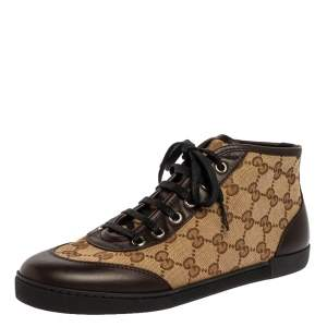 Gucci Brown/Beige GG Canvas and Leather Lace Up High Top Sneakers Size 36