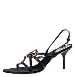 Gucci Black Suede Interlocking GG Ankle Strap Sandals Size 40.5