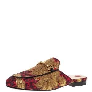 Gucci Multicolor Brocade Fabric Princetown Flat Mules Size 37