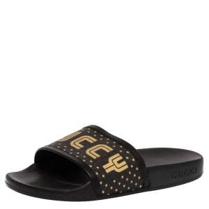 Gucci Black 'Guccy Star' Print Canvas And Leather Trim Flat Slides Size 34