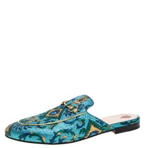 Gucci Multicolor Brocade Princetown Horsebit Flat Mules Size 41