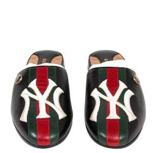 Gucci Multicolor NY Yankees Leather Flamel Mules Size 38