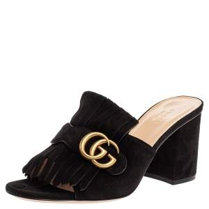 Gucci Black Suede GG Marmont Fringed Slide Sandals Size 39