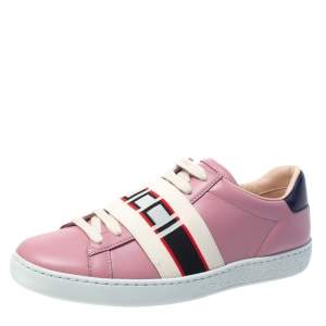 Gucci Pink Leather Ace Gucci Stripe Low Top Sneakers Size 35