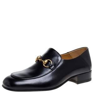 Gucci Black Leather Horsebit Slip On Loafers Size 37.5