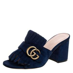 Gucci Blue Suede Leather GG Marmont Fringe Block Heel Mules Size 36