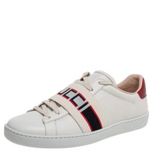 Gucci White/Red Leather Ace Gucci Band Low Top Sneakers Size 37