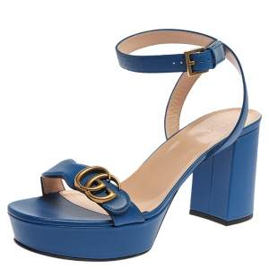 Gucci Blue Leather GG Marmont Ankle Strap Sandals Size 41