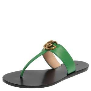 Gucci Green Leather GG Marmont Thong Flats Size 37