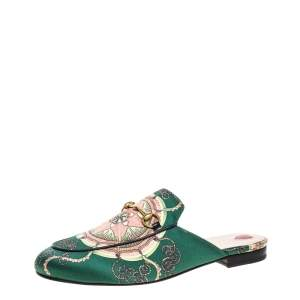 Gucci Green Printed Satin Princetown Mules Size 41