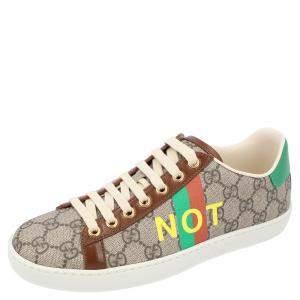 حذاء رياضي غوتشي ايس مطبوع نقشة كلمات فايك / نوت كانفاس جي جي بني و بيج مقاس أوروبي 38.5